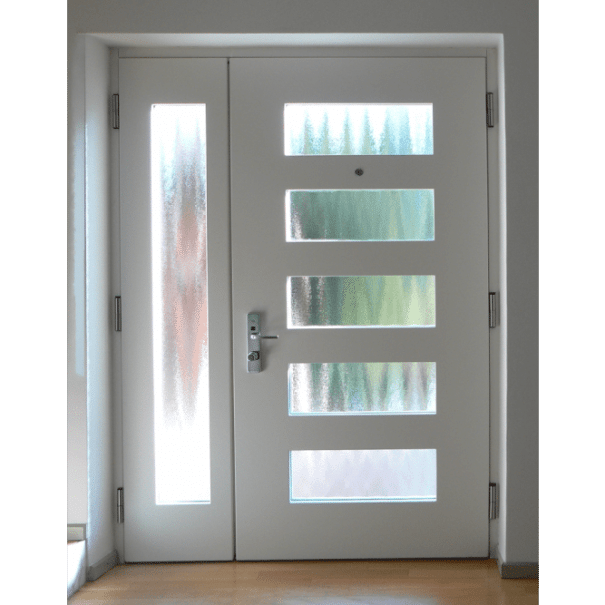 Porta blindata con vetro bianca